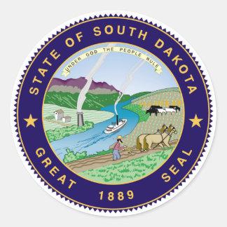 enig sy Amerika för South Dakota statlig flagga Runt Klistermärke