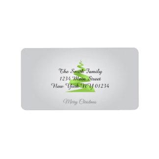 Enkel bandjulgran för jul adressetikett