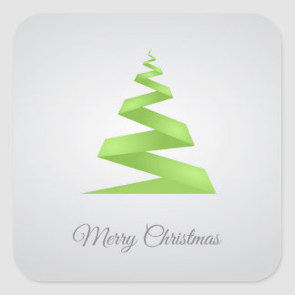 Enkel bandjulgran för jul fyrkantigt klistermärke
