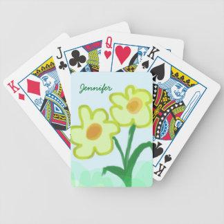 Enkel barnslig blommavattenfärgmålning spelkort