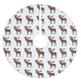 Enkel brun kjol för älgmönsterträd julgransmatta borstad polyester