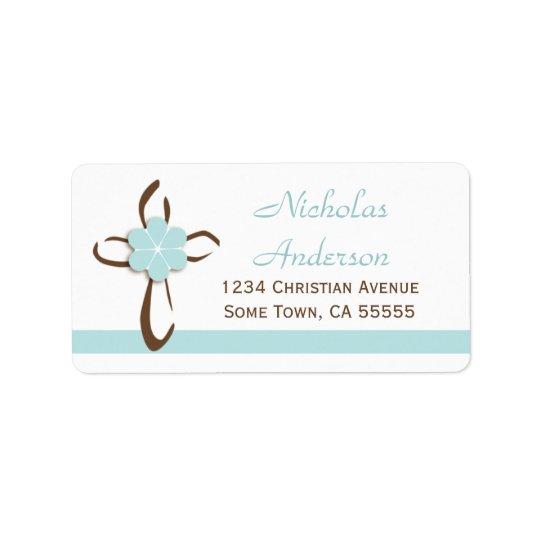 Enkel contemporarykor med blåttadressen Label2 Adressetikett