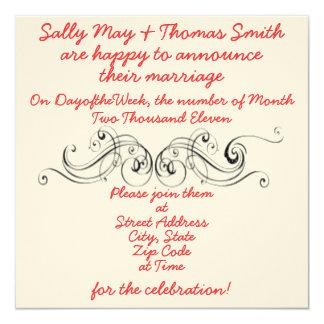 Enkel elegant bröllopinbjudan fyrkantigt 13,3 cm inbjudningskort