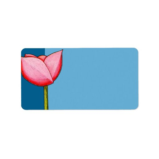 Enkel etikett för blommablåttadress adressetikett
