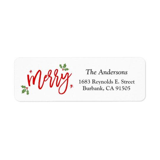Enkel flott god jul räcker skriftligt skrivar returadress etikett