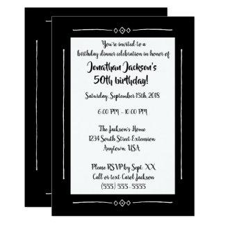 Enkel flott svart på svart tillfällenMonogram 12,7 X 17,8 Cm Inbjudningskort