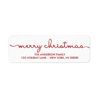 Enkel god jul räcker märkt skrivar etiketten returadress etikett