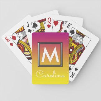 Enkel gult till den rosa sommarlutningmonogramen spelkort
