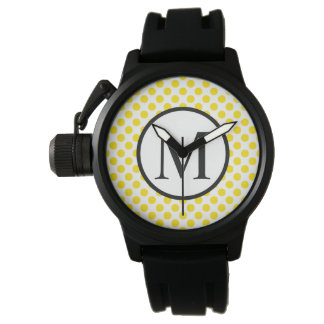 Enkel Monogram med gul polka dots Armbandsur