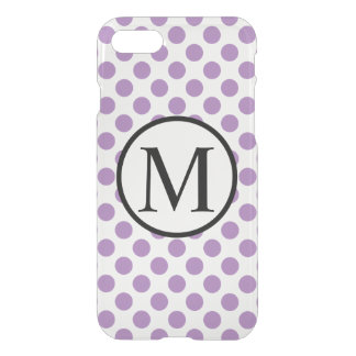 Enkel Monogram med lavendelpolka dots iPhone 7 Skal