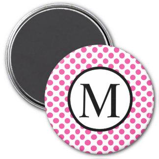 Enkel Monogram med rosa polka dots Magnet