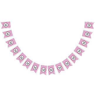 Enkel Monogram med rosa vertikala randar Vimplar