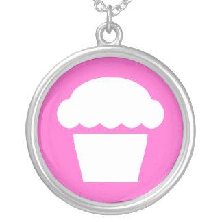 enkel muffin/muffin silverpläterat halsband