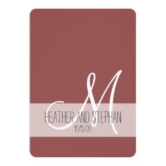 Enkel och elegant Marsala röd vitMonogram 12,7 X 17,8 Cm Inbjudningskort