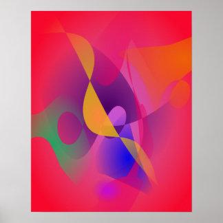 Enkel röd abstrakt målning poster