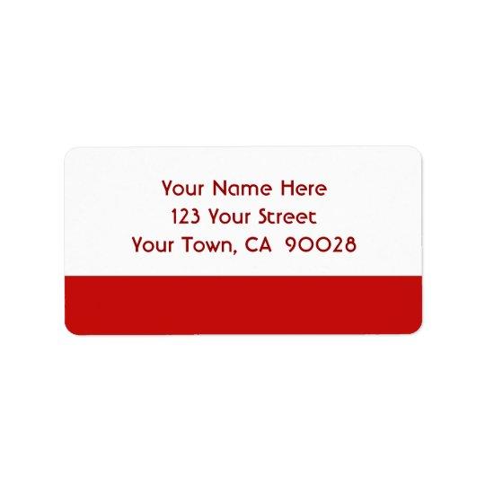 enkel röd färg adressetikett