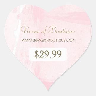 Enkel rosa guld- vattenfärgBoutiqueprislapp Hjärtformat Klistermärke