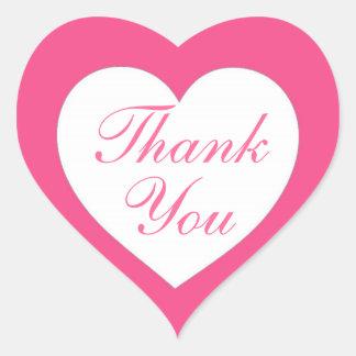 Enkel rosa vithjärta tackar dig klistermärkear hjärtklistermärken