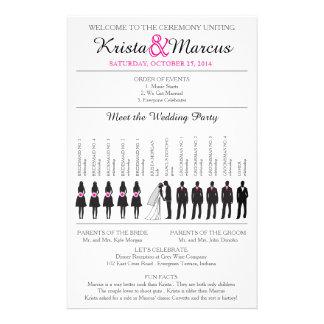 Enkel Silhouettesbröllopsprogram Flyer-2 Reklamblad 14 X 21,5 Cm