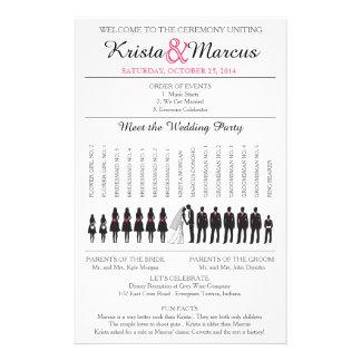 Enkel Silhouettesbröllopsprogram Flyer-3 Reklamblad 14 X 21,5 Cm