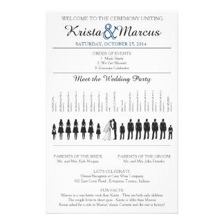 Enkel Silhouettesbröllopsprogram Flyer-6K Reklamblad 14 X 21,5 Cm