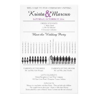 Enkel Silhouettesbröllopsprogram Flyer-8 Reklamblad 14 X 21,5 Cm