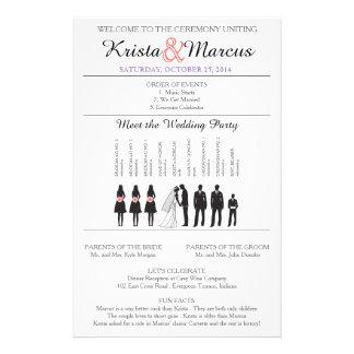 Enkel Silhouettesbröllopsprogram Flyer-9 Reklamblad 14 X 21,5 Cm