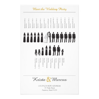 Enkel Silhouettesbröllopsprogram Flygblad