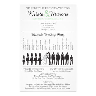 Enkel Silhouettesbröllopsprogramreklamblad Reklamblad 14 X 21,5 Cm