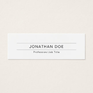 Enkel slätt för modern yrkesmässig elegant vit litet visitkort