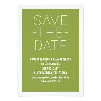 Enkel spara daterainbjudan som är oliv grönt 12,7 x 17,8 cm inbjudningskort