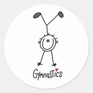 Enkel stick figurgymnast runt klistermärke