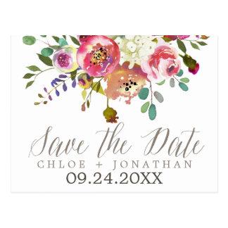 Enkel vattenfärgbukettbröllop spara datum vykort