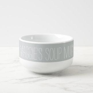 Enkel vit för anpassningsbarnamngrått mugg för soppa