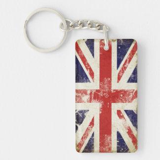 Enkelsidiga Keychain med den Storbritannien flagga Nyckelring