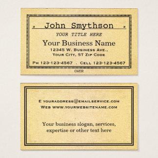 Enkelt antikt gammalt åldraspapper visitkort