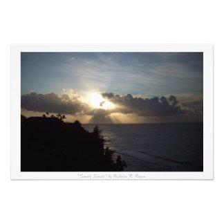 """""""Enkelt dekor för solnedgång"""" Kauai natur Fototryck"""