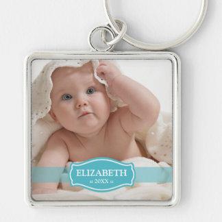 Enkelt eleganta mommys Keychain (aqua) Fyrkantig Silverfärgad Nyckelring