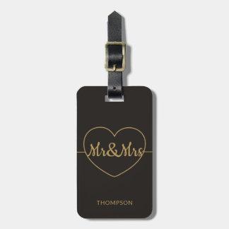 Enkelt elegantt mörkt Fauxguld Mr&Mrs Bagagebricka