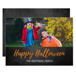 Enkelt kort för svart tavlahappy halloweenfoto 12,7 x 17,8 cm inbjudningskort