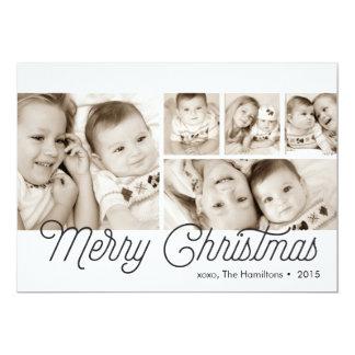 Enkelt mång- fotokort för god jul 12,7 x 17,8 cm inbjudningskort