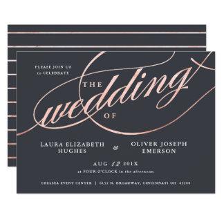 Enkelt modernt rosa guld skrivar bröllop 12,7 x 17,8 cm inbjudningskort