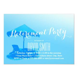 Enkelt party för pension för blåttstrandstol 12,7 x 17,8 cm inbjudningskort
