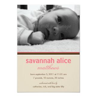 Enkelt sött födelsemeddelande - rosa 12,7 x 17,8 cm inbjudningskort