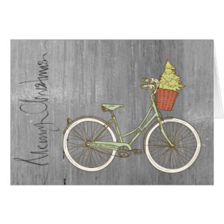Enkelt & sött grått julcykelkort hälsningskort