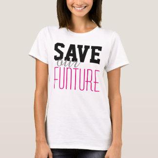 """Enkelt textdesign """"SPARA våra FUNTURE """", T-shirt"""
