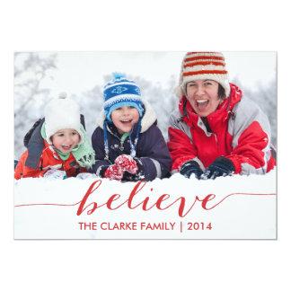 Enkelt tro rött fotokort för helgdag 2014 12,7 x 17,8 cm inbjudningskort