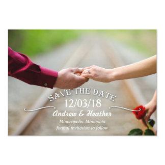 Enkelt virvla runt bröllop spara datum 12,7 x 17,8 cm inbjudningskort
