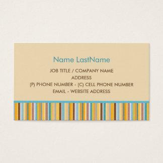 Enkla blått, gult, orange, brun randdesign visitkort