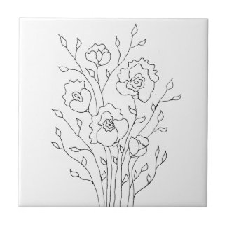 Enkla blommor liten kakelplatta